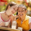 Two Girls Having Coffee Together — Stock Photo