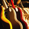 Guitars Lined Up — Stock Photo