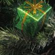 Green Box Christmas Tree Decoration — Stock Photo