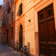 Bicycles On Street In Front Of Buildings Rome Italy — ストック写真