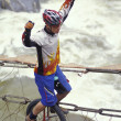 Unicyclist Crossing River On Unicycle — Stock Photo #31608811