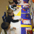 Many Children Drawing And Having Fun Together In Their Kindergarten Class — Stock Photo