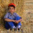 Young Boy Relaxing In Hayfield — Stock Photo #31609501