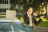Businesswoman Has Conversation On Cell Phone — Stock Photo
