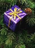 Decoración de árbol de navidad la caja púrpura — Foto de Stock