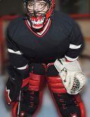 Hockey Goalie In Net — Stock Photo