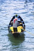 Gondolier Navigating The Canal Of Venice Italy Europe — Stock Photo