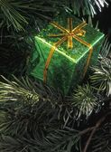 Green Box Christmas Tree Decoration — Стоковое фото