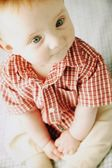 Baby In Red Plaid Shirt — Stock Photo