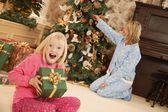 Child At Christmas With Present — Stock Photo