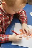 Little Boy In Kindergarten Drawing A Halloween Picture In His Class — Stock Photo