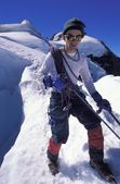 Mountaineer On A Snowy Slope — Stock Photo
