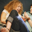 Stock Photo: Two Girls Share Laugh