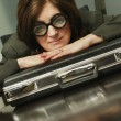 Stock Photo: BusinesswomWearing Funny Glasses