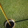 Golf Ball Close To Pin — Stock Photo