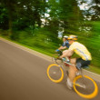 Two Cyclists Racing On Bikes — Stock Photo