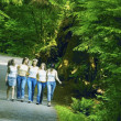 Foto Stock: Group Of Girls Walking Through Woodland