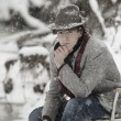 MSitting In Chair While Snowing — Stock Photo #31613655