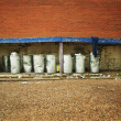 A Group Of Garbage Cans — Stok Fotoğraf #31615645
