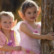 Two Little Fairy Girls In The Autumn Forest — Stock Photo