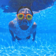 Boy With Goggles In Swimming Pool — Stock Photo