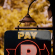 A Sign Directing Patrons To Pay — Stock Photo