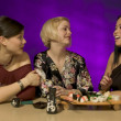 Three Friends In A Japanese Restaurant — Stock Photo