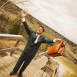 Businessman On Top Of The World — Stock Photo