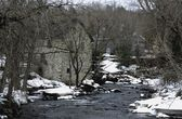 Winter Scene Of River And Riverbank — Stock Photo