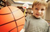 Little Boy With Basketball — Stock Photo