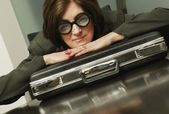 Businesswoman Wearing Funny Glasses — Stock Photo