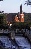 Church In Background With Dam — Stock Photo