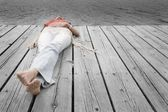 Woman Lying On Dock — Stockfoto