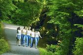 Group Of Girls Walking Through Woodland — Stock Photo