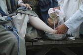 Jesús lava los pies del discípulo — Foto de Stock