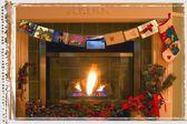 Traditional Christmas Fireplace — Stock Photo