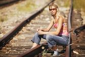 Portrait Of Woman On Railroad Tracks — Stock Photo