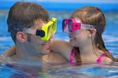 Portrait Of Father And Daughter Snorkeling — Stock Photo