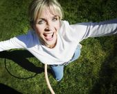 Woman Plays With Hoop — Stock Photo