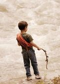 Young Boy At Edge Of Torrent — Stock Photo