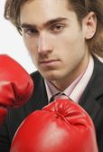 Businessman With Boxing Gloves — Stock Photo