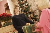 Giving Gifts On Christmas — Photo