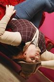 Lady Upside Down In Chair — Foto Stock