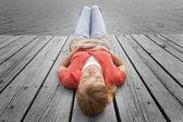 Woman Lying On Dock — Foto de Stock