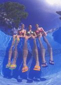 Girls Dangling Feet In Pool — Stock Photo