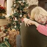 Christmas Morning Hug — Stock Photo