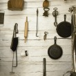 Stock Photo: Collection Of Old-Fashioned Kitchen Utensils And Implements