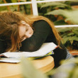 Student Naps On Books — Stock Photo #31621357