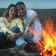 Couple Keep Warm By Campfire — Stock Photo #31621441