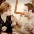 Stock Photo: Couple Having Fight Over Card Game